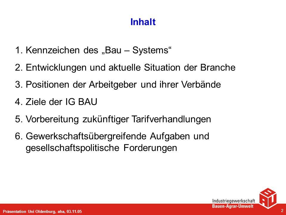 """Kennzeichen des """"Bau – Systems"""