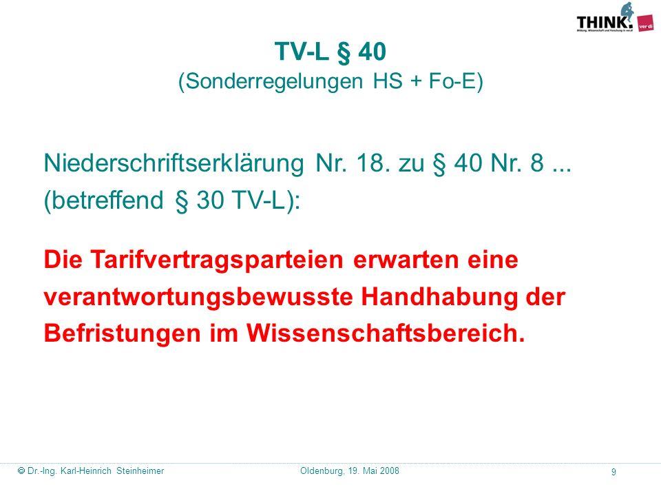TV-L § 40 (Sonderregelungen HS + Fo-E)