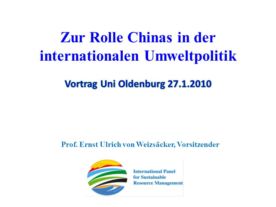 Zur Rolle Chinas in der internationalen Umweltpolitik