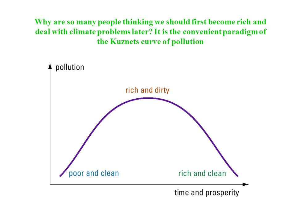 Why are so many people thinking we should first become rich and deal with climate problems later It is the convenient paradigm of the Kuznets curve of pollution