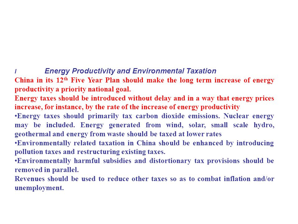 I Energy Productivity and Environmental Taxation