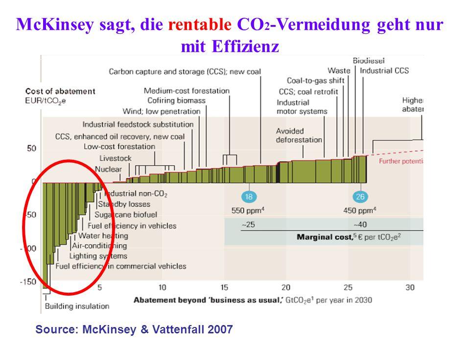 McKinsey sagt, die rentable CO2-Vermeidung geht nur mit Effizienz