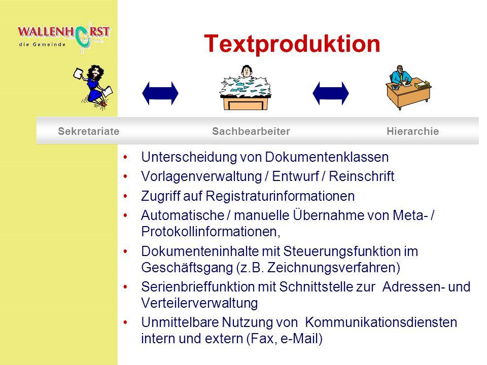 Textproduktion Unterscheidung von Dokumentenklassen