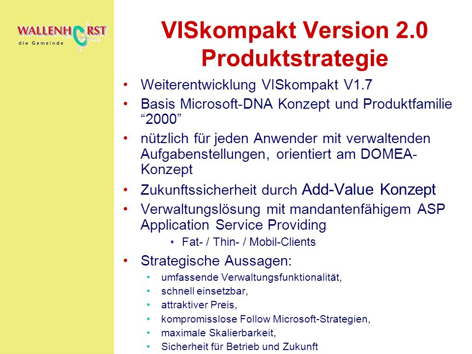 VISkompakt Version 2.0 Produktstrategie