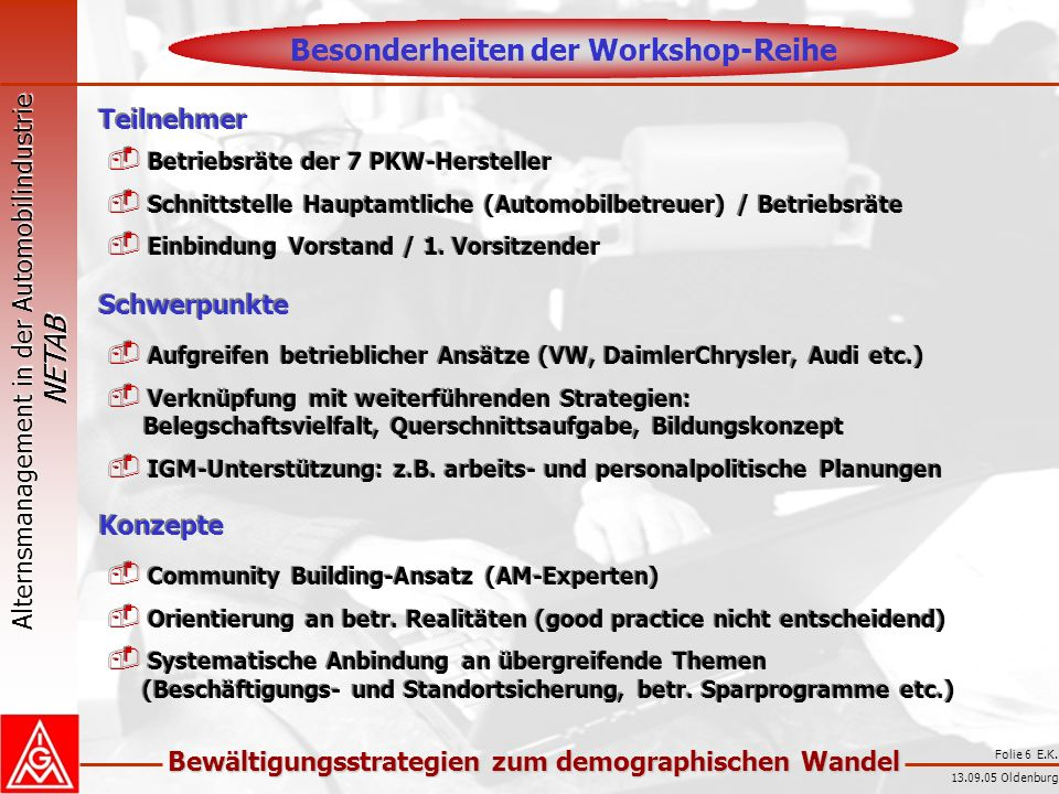 Besonderheiten der Workshop-Reihe