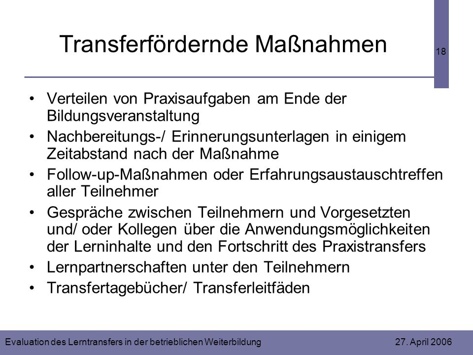 Transferfördernde Maßnahmen
