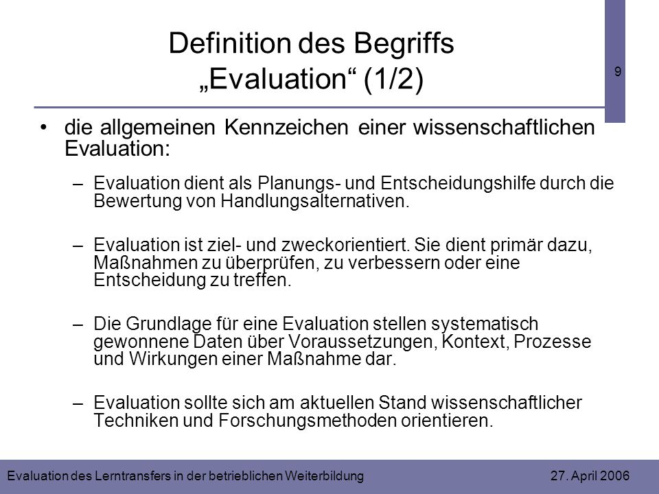 "Definition des Begriffs ""Evaluation (1/2)"