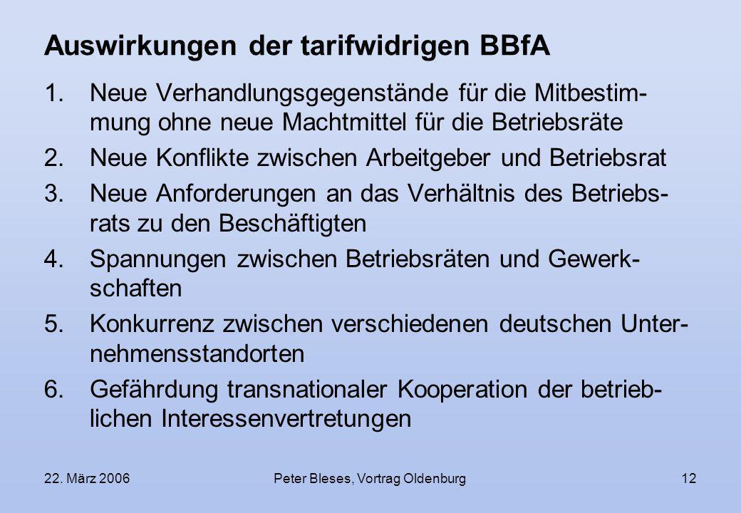 Auswirkungen der tarifwidrigen BBfA