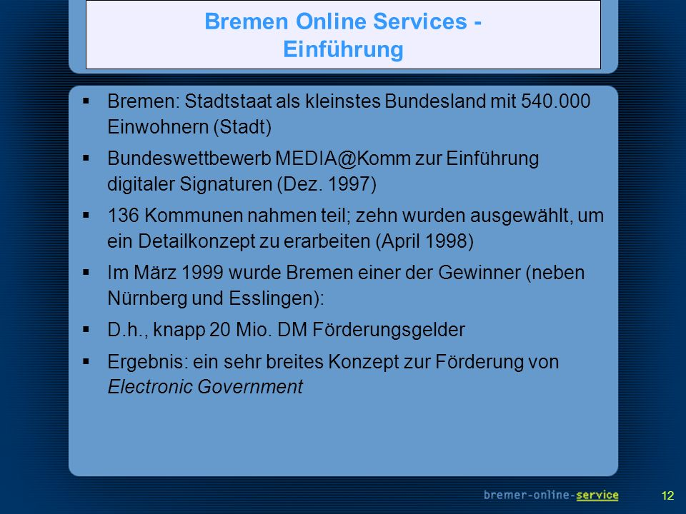 Bremen Online Services - Einführung