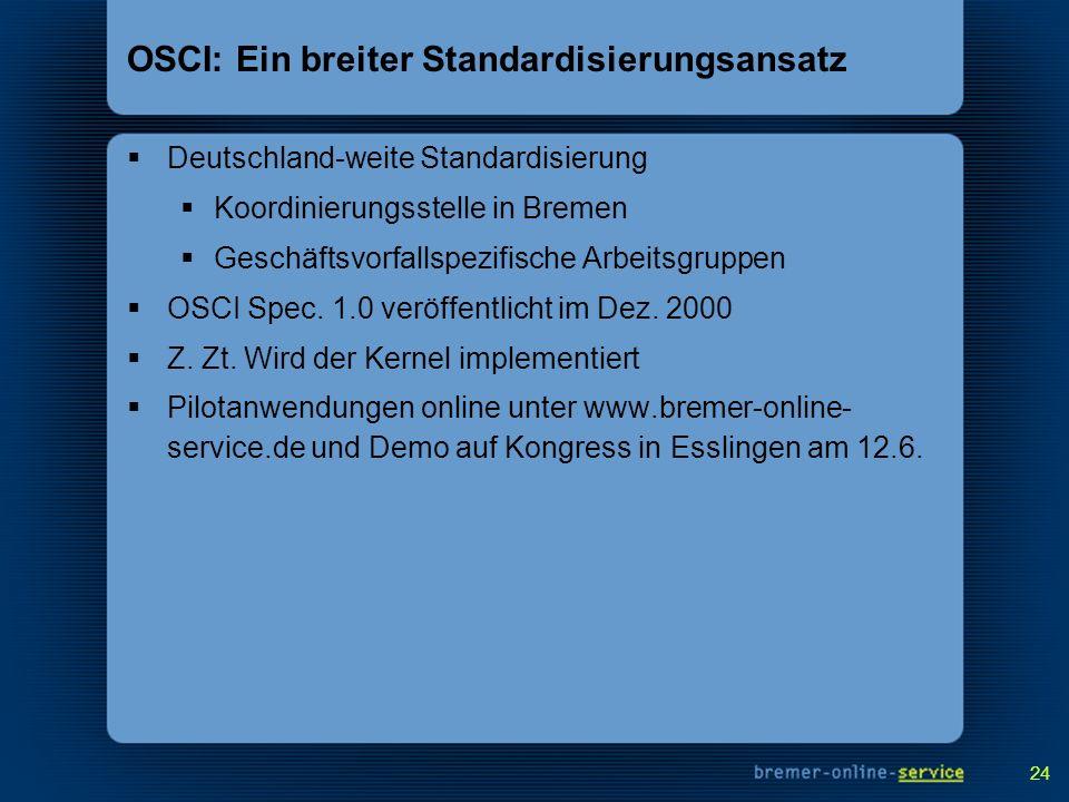 OSCI: Ein breiter Standardisierungsansatz