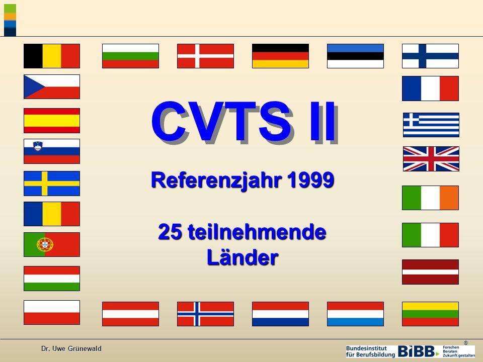 CVTS II Referenzjahr 1999 25 teilnehmende Länder Dr. Uwe Grünewald