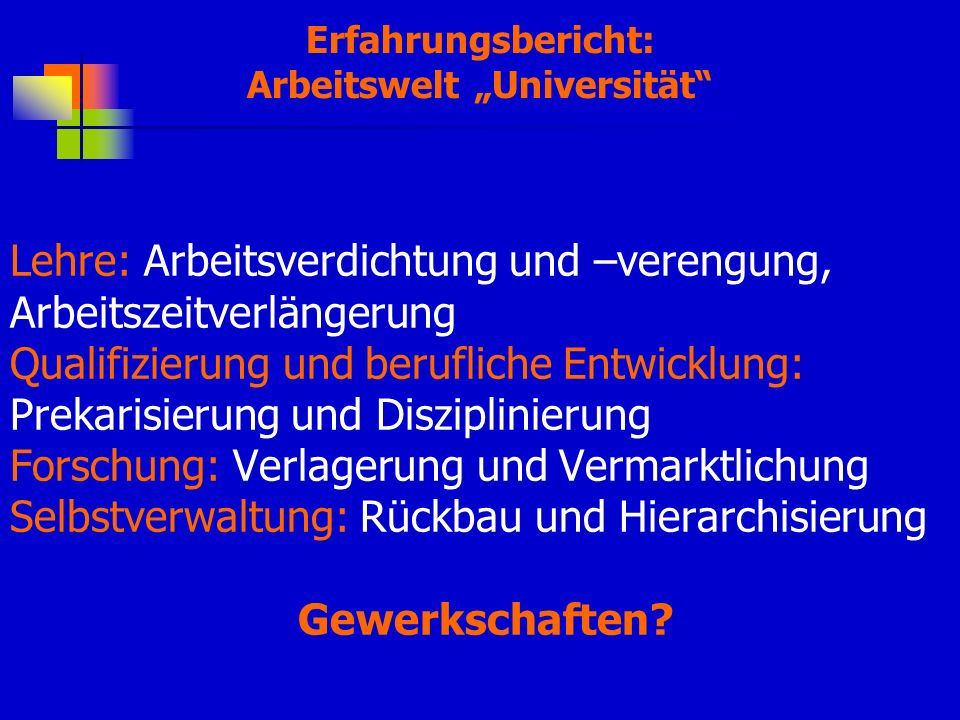 "Arbeitswelt ""Universität"