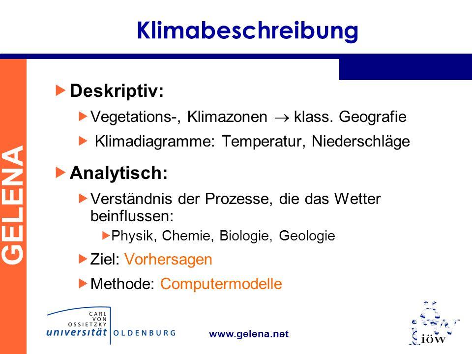 Klimabeschreibung Deskriptiv: Analytisch:
