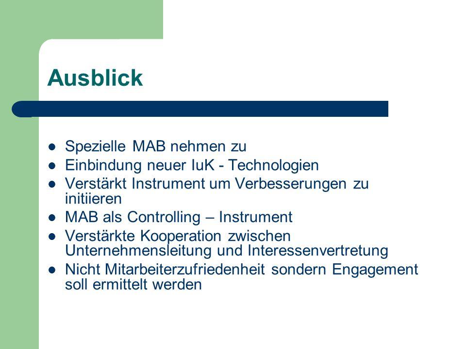 Ausblick Spezielle MAB nehmen zu Einbindung neuer IuK - Technologien