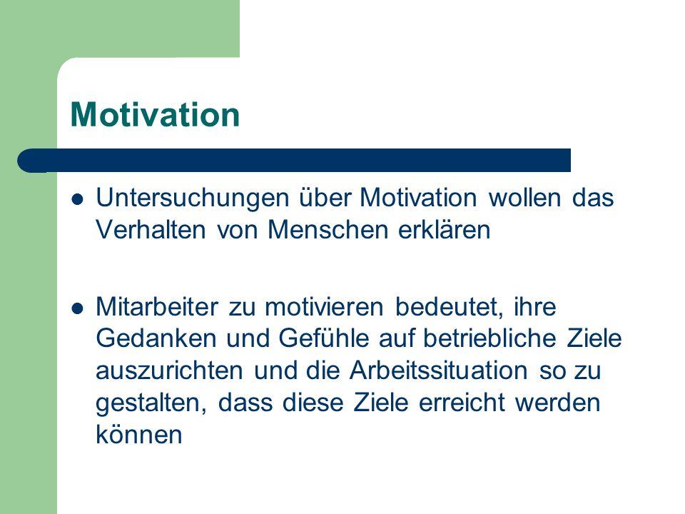 Motivation Untersuchungen über Motivation wollen das Verhalten von Menschen erklären.