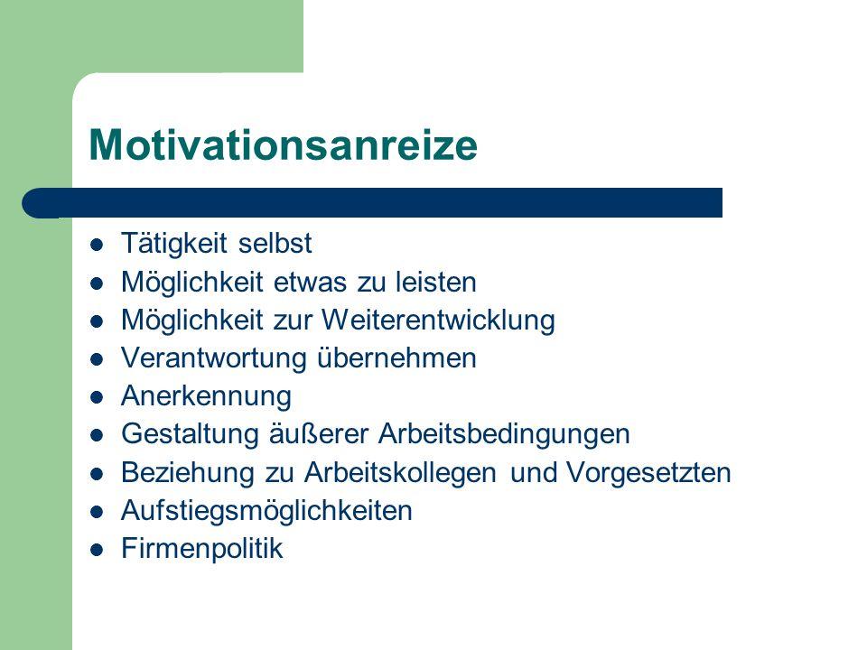 Motivationsanreize Tätigkeit selbst Möglichkeit etwas zu leisten