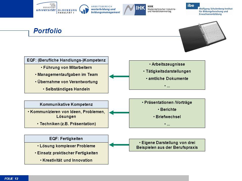 Portfolio EQF: (Berufliche Handlungs-)Kompetenz Arbeitszeugnisse