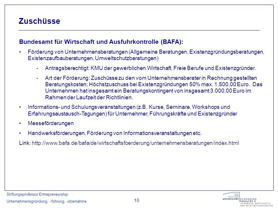 Zuschüsse Bundesamt für Wirtschaft und Ausfuhrkontrolle (BAFA):