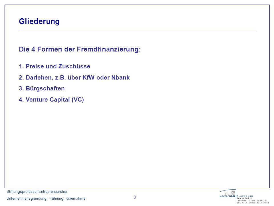 Gliederung Die 4 Formen der Fremdfinanzierung: 1. Preise und Zuschüsse