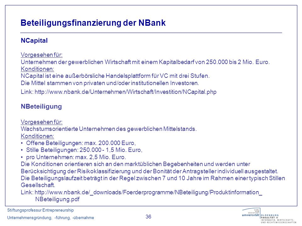 Beteiligungsfinanzierung der NBank