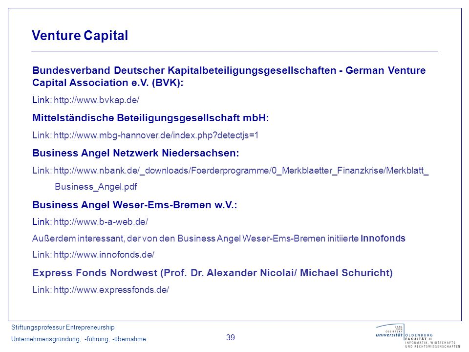 Venture Capital Bundesverband Deutscher Kapitalbeteiligungsgesellschaften - German Venture Capital Association e.V. (BVK):