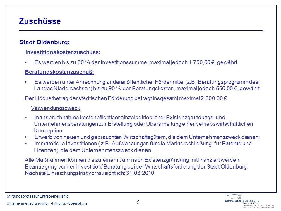 Zuschüsse Stadt Oldenburg: Investitionskostenzuschuss: