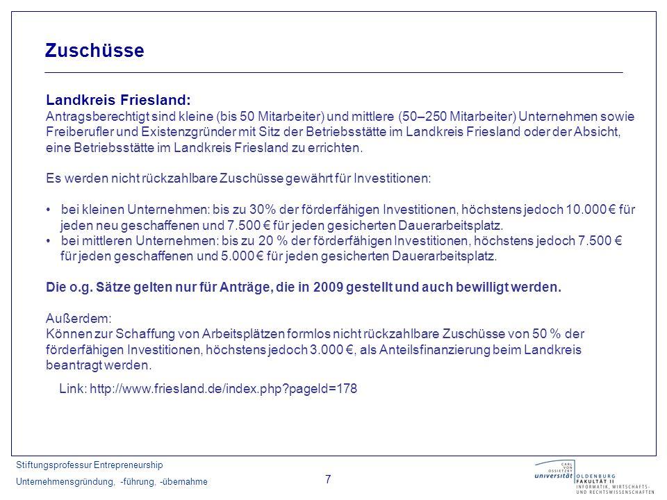 Zuschüsse Landkreis Friesland: