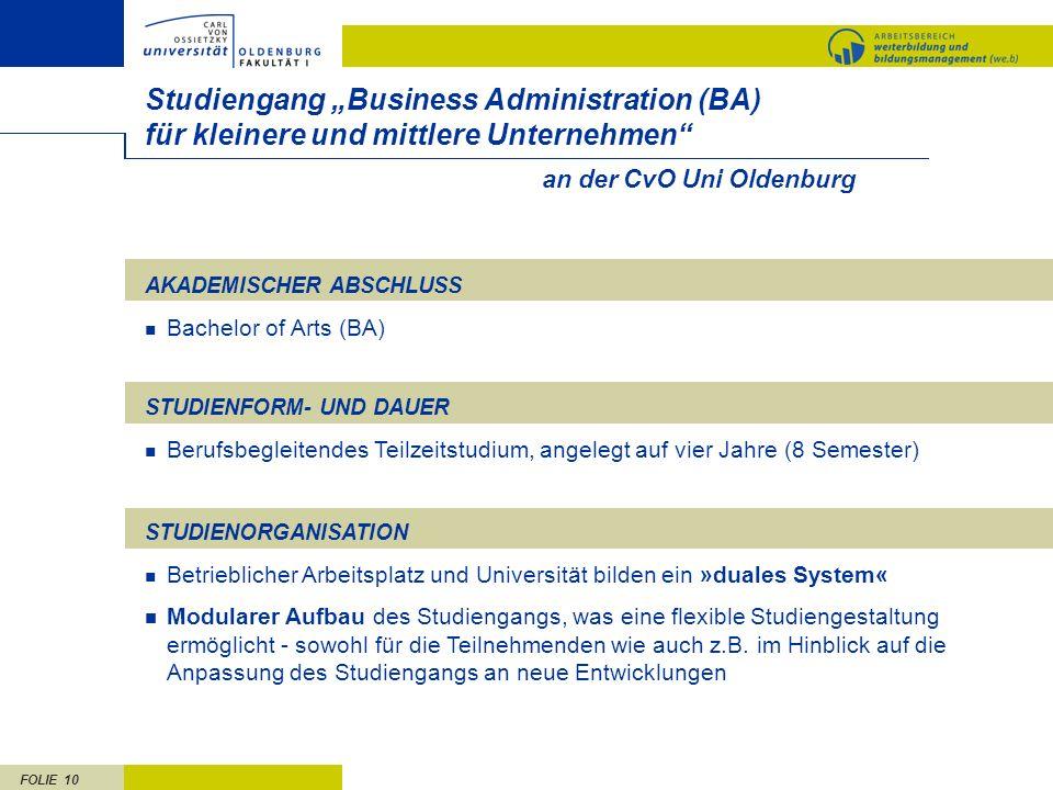 """Studiengang """"Business Administration (BA) für kleinere und mittlere Unternehmen an der CvO Uni Oldenburg."""
