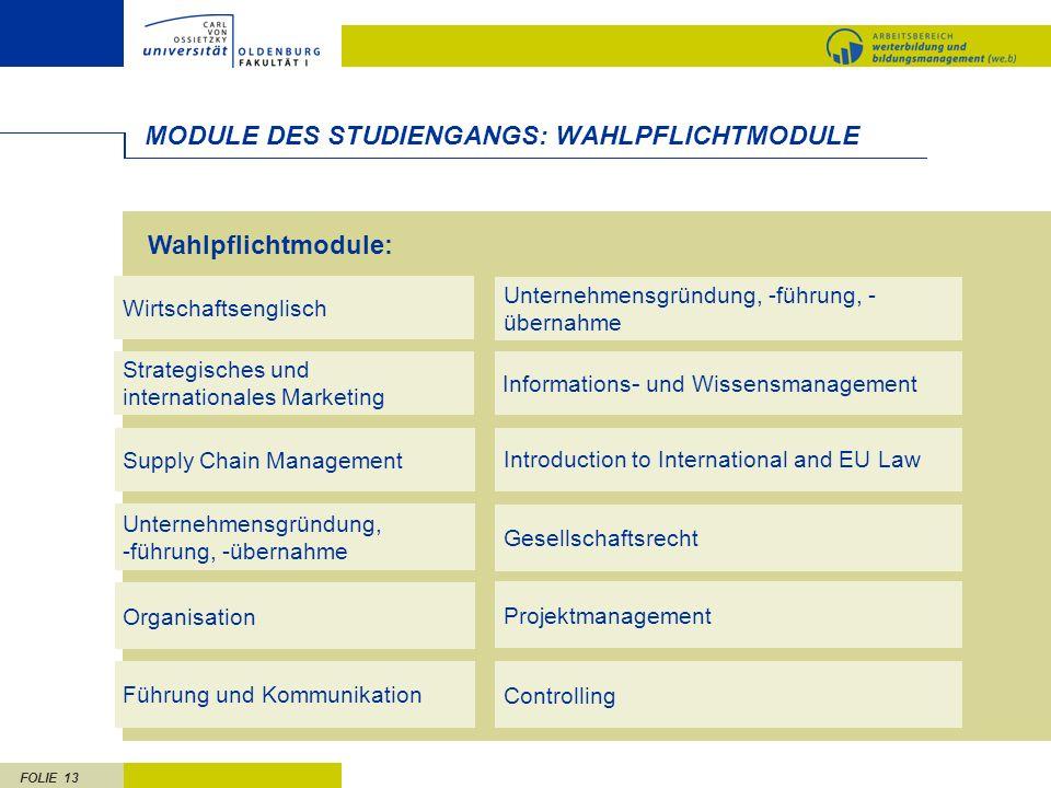 MODULE DES STUDIENGANGS: WAHLPFLICHTMODULE