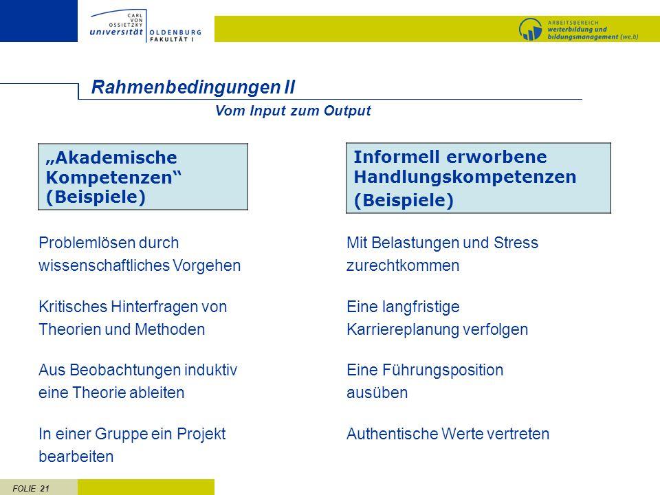 """Rahmenbedingungen II """"Akademische Kompetenzen (Beispiele)"""