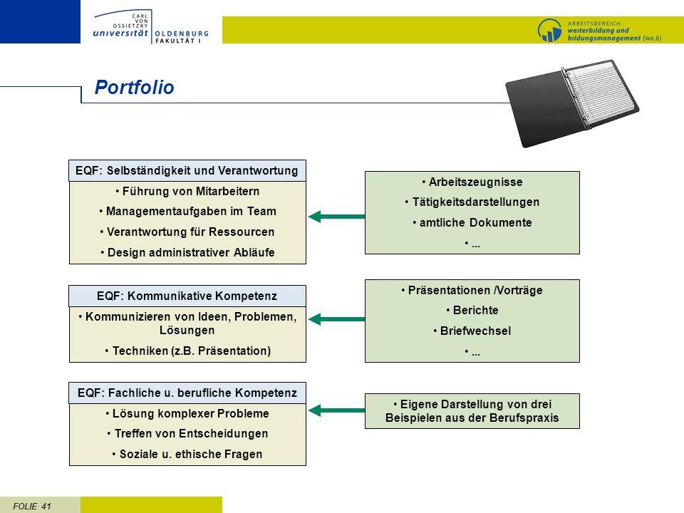Portfolio EQF: Selbständigkeit und Verantwortung Arbeitszeugnisse