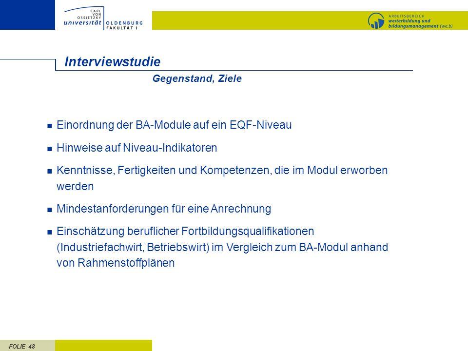 Interviewstudie Einordnung der BA-Module auf ein EQF-Niveau