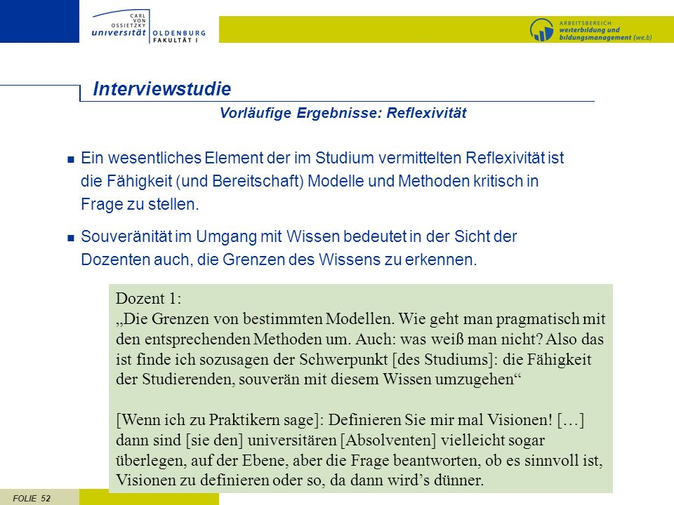 Interviewstudie Dozent 1:
