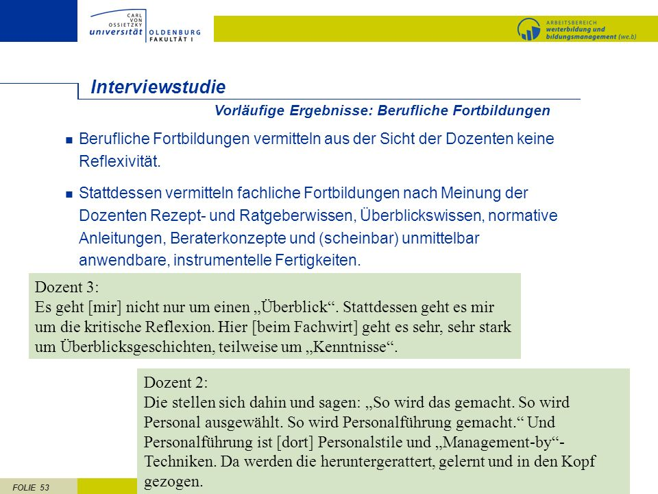 Interviewstudie Dozent 3: