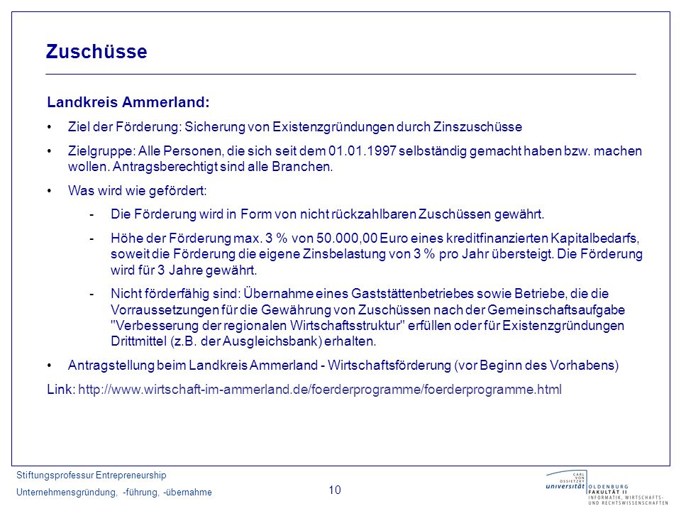 Zuschüsse Landkreis Ammerland: