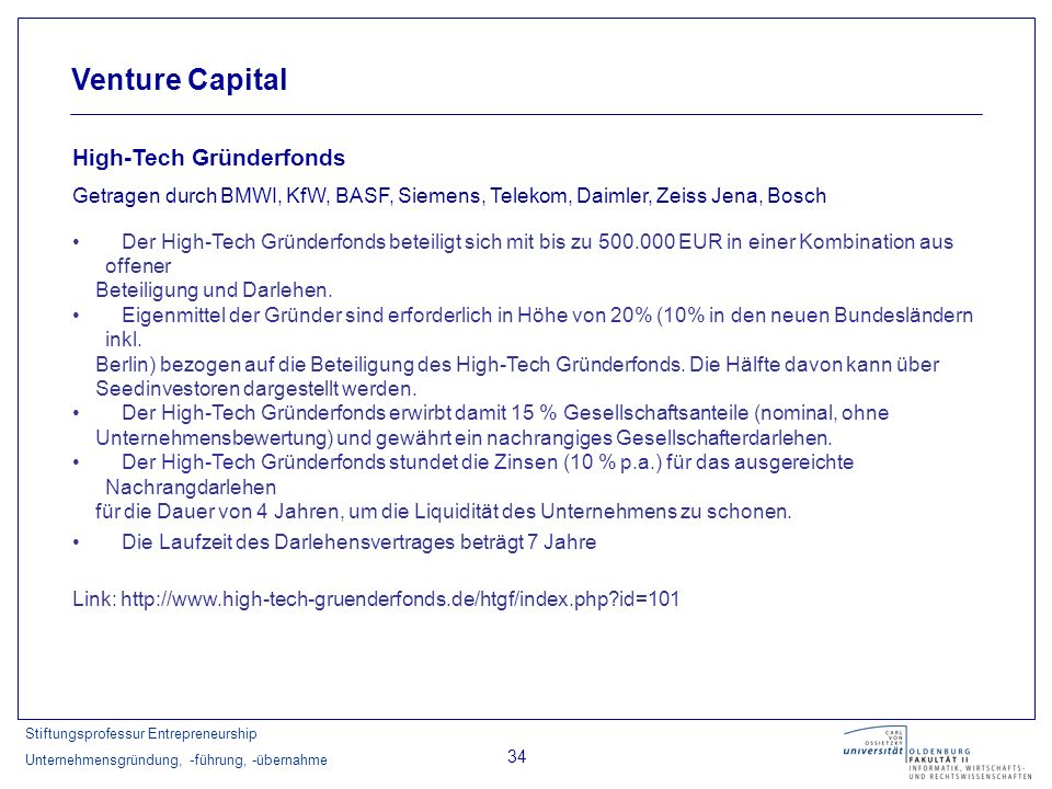 Venture Capital High-Tech Gründerfonds
