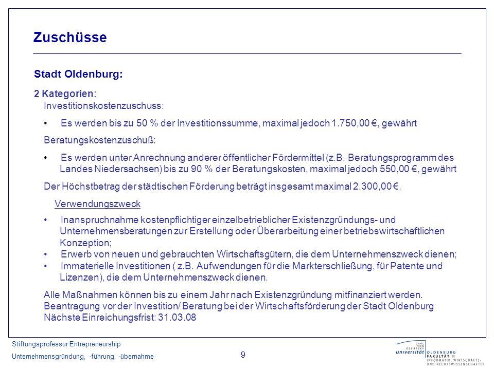 Zuschüsse Stadt Oldenburg: 2 Kategorien: Investitionskostenzuschuss:
