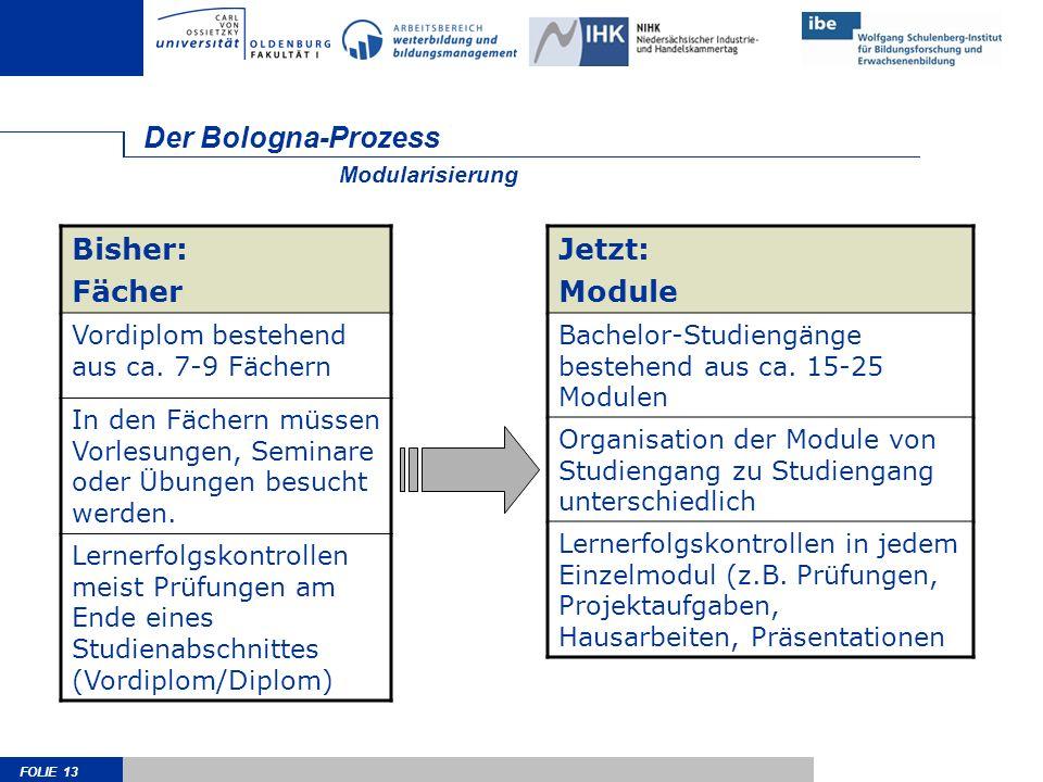 Der Bologna-Prozess Bisher: Fächer Jetzt: Module