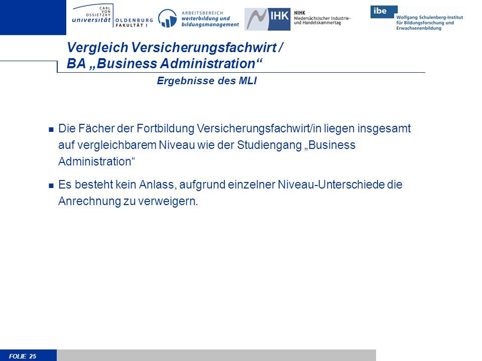 """Vergleich Versicherungsfachwirt / BA """"Business Administration"""