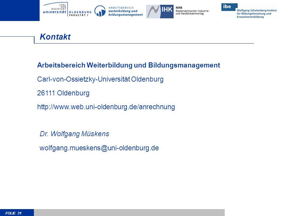 Kontakt Arbeitsbereich Weiterbildung und Bildungsmanagement