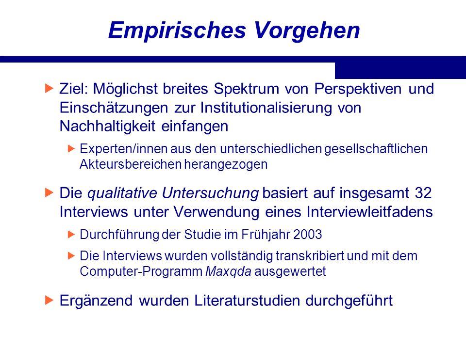 Empirisches Vorgehen Ziel: Möglichst breites Spektrum von Perspektiven und Einschätzungen zur Institutionalisierung von Nachhaltigkeit einfangen.
