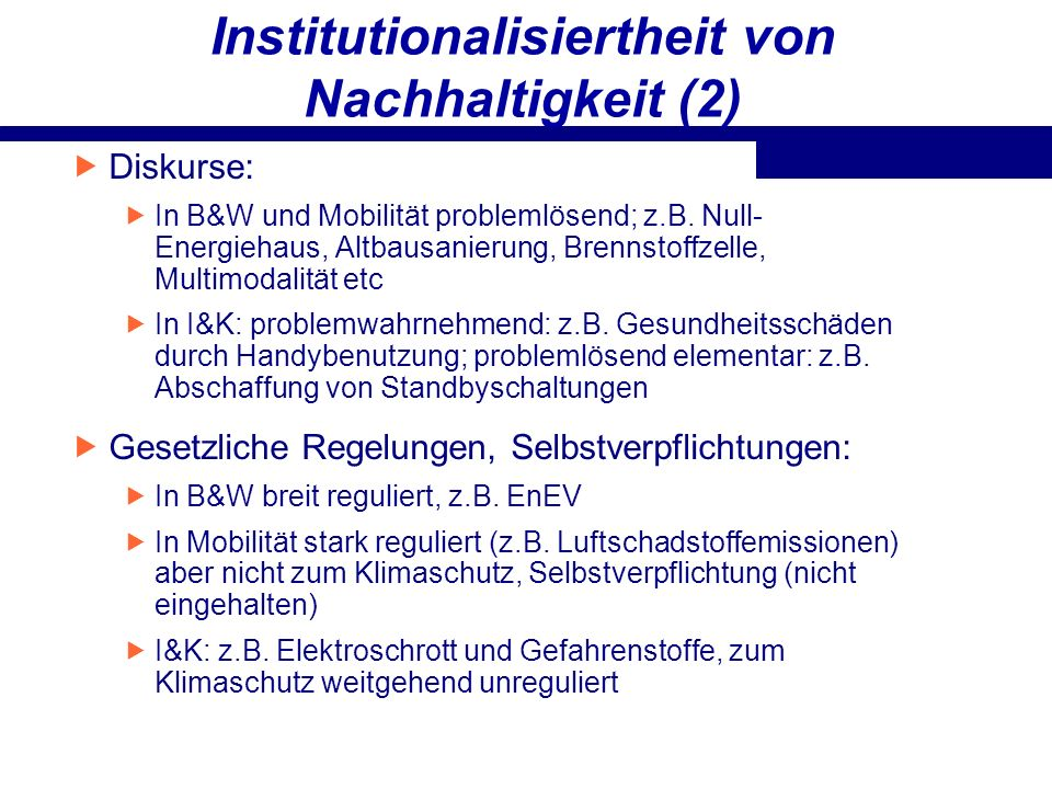 Institutionalisiertheit von Nachhaltigkeit (2)