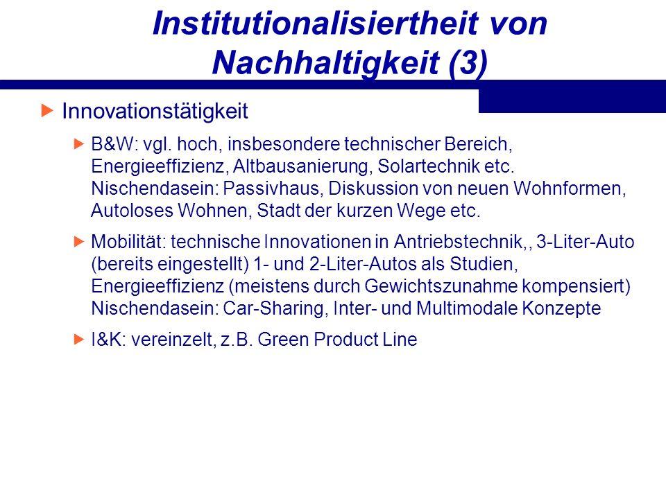 Institutionalisiertheit von Nachhaltigkeit (3)