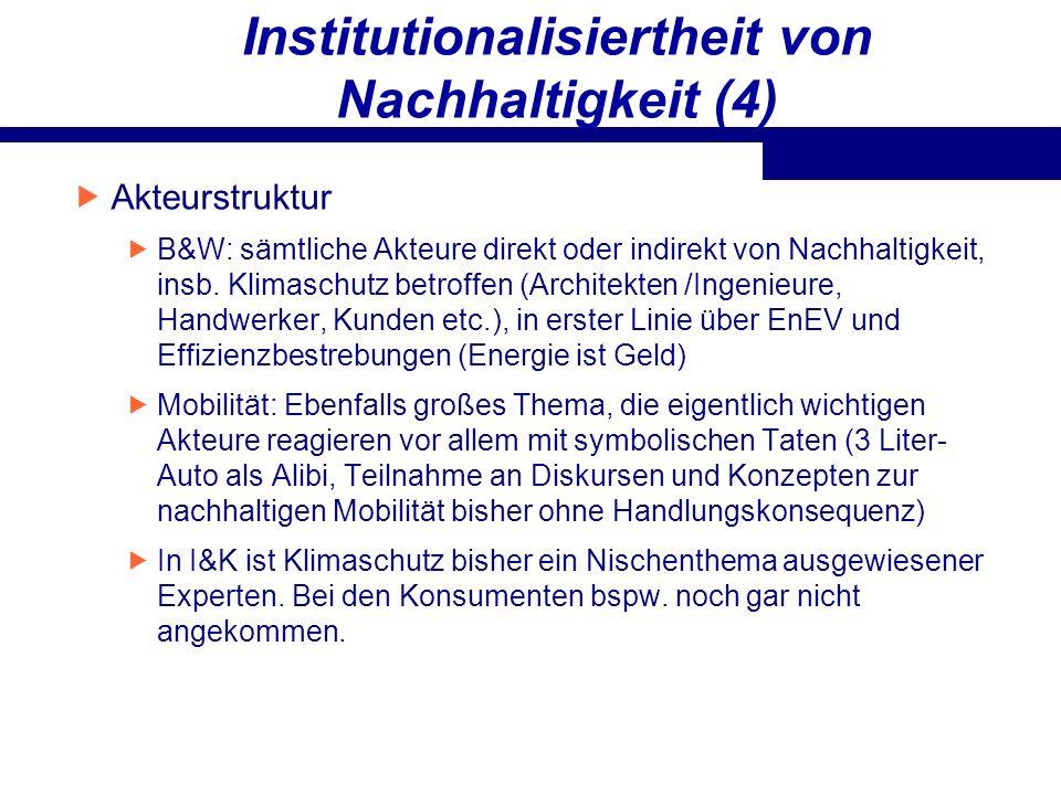 Institutionalisiertheit von Nachhaltigkeit (4)