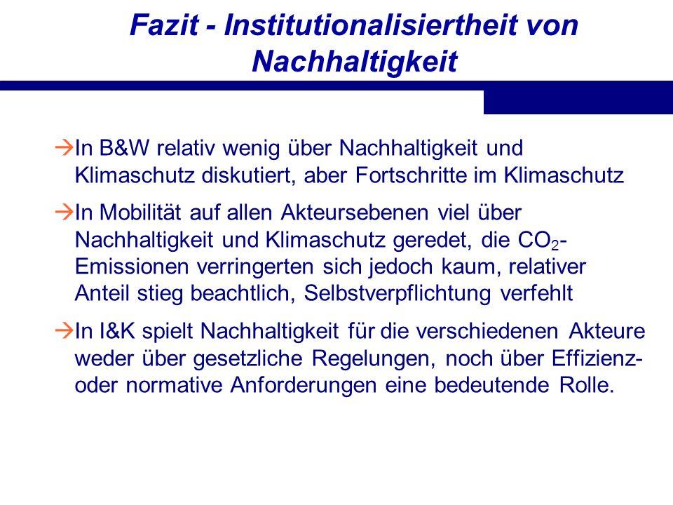 Fazit - Institutionalisiertheit von Nachhaltigkeit