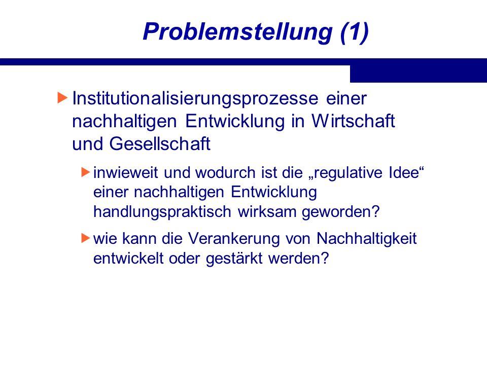 Problemstellung (1)Institutionalisierungsprozesse einer nachhaltigen Entwicklung in Wirtschaft und Gesellschaft.