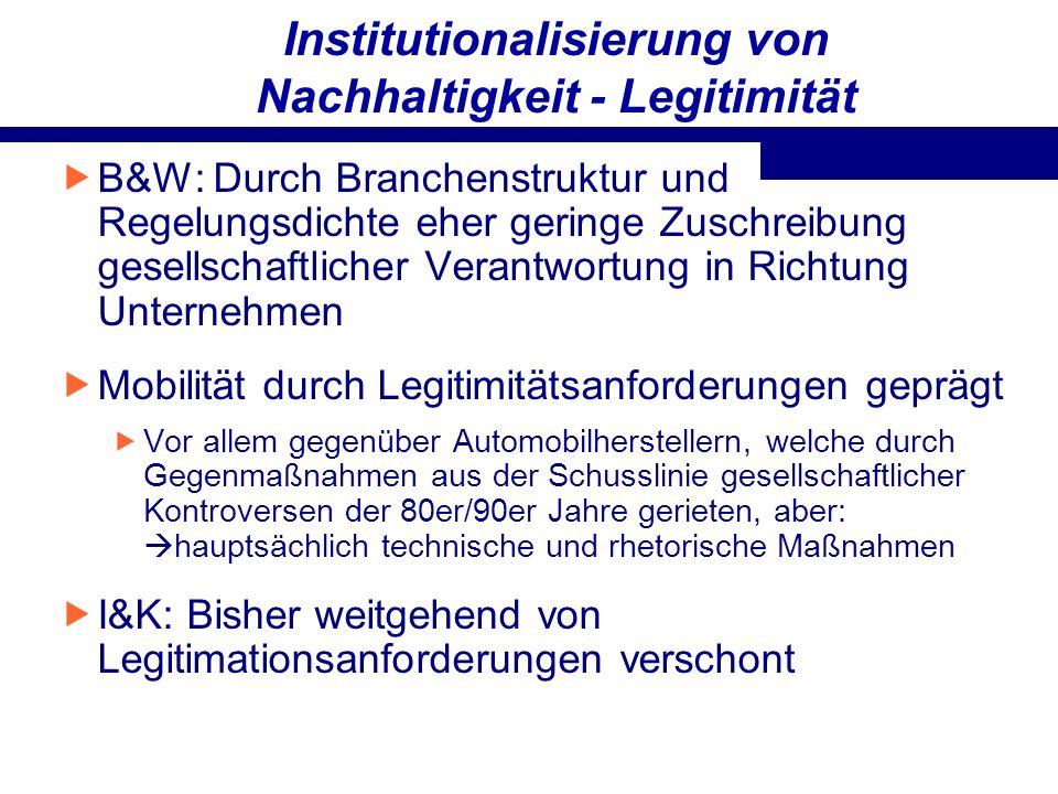 Institutionalisierung von Nachhaltigkeit - Legitimität