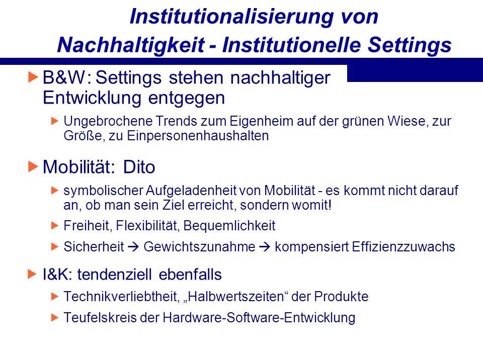 Institutionalisierung von Nachhaltigkeit - Institutionelle Settings