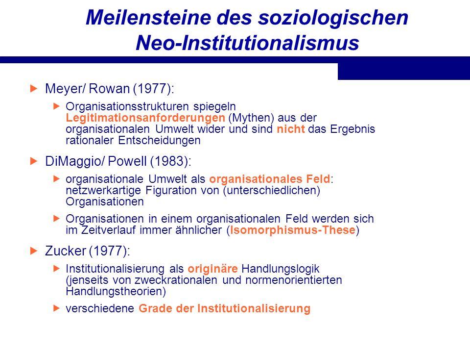Meilensteine des soziologischen Neo-Institutionalismus