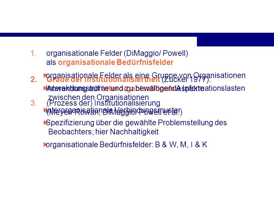 organisationale Felder (DiMaggio/ Powell) als organisationale Bedürfnisfelder